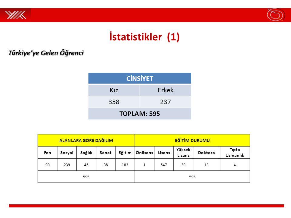 İstatistikler (1) Türkiye'ye Gelen Öğrenci CİNSİYET Kız Erkek 358 237