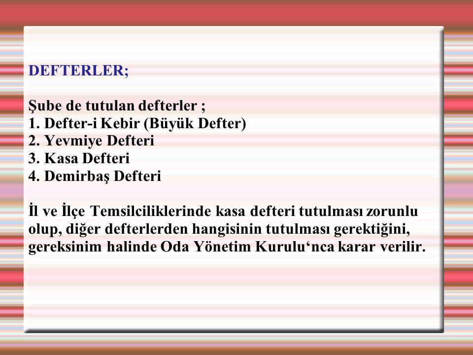 DEFTERLER; Şube de tutulan defterler ; 1