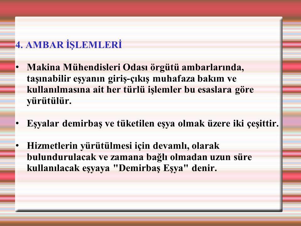 4. AMBAR İŞLEMLERİ