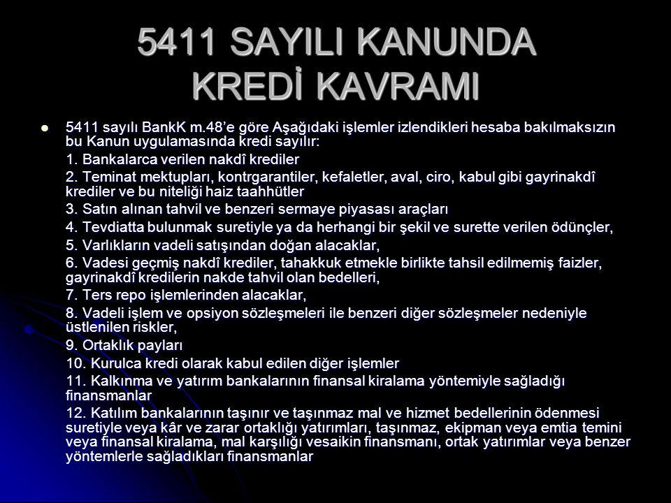 5411 SAYILI KANUNDA KREDİ KAVRAMI