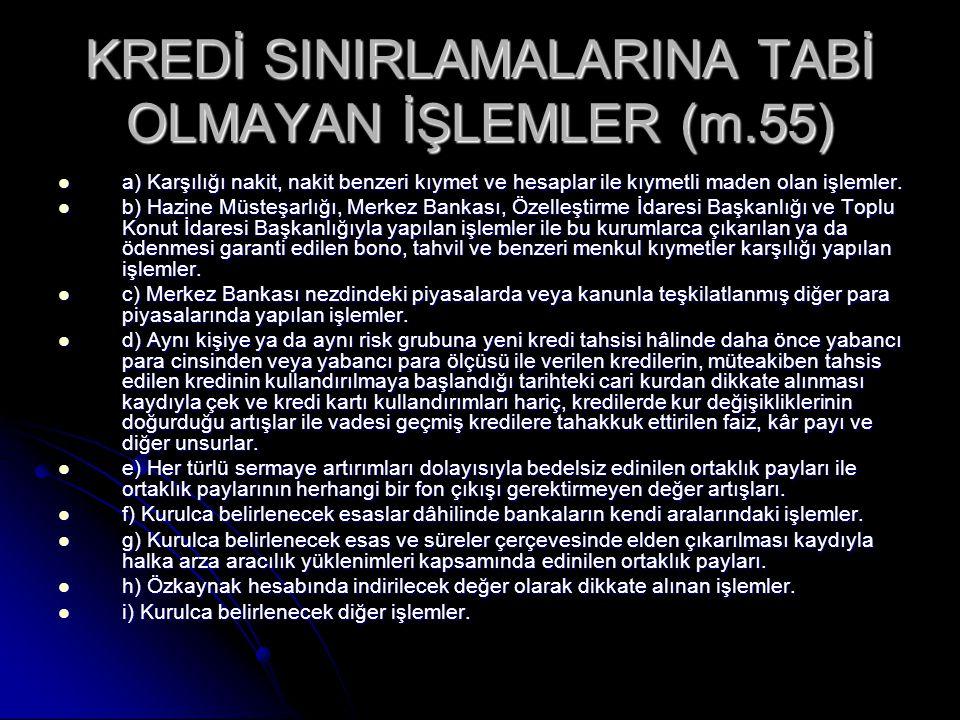 KREDİ SINIRLAMALARINA TABİ OLMAYAN İŞLEMLER (m.55)