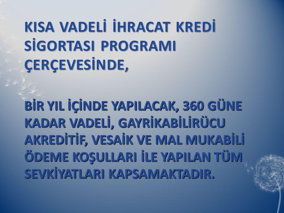 KISA VADELİ İHRACAT KREDİ SİGORTASI PROGRAMI ÇERÇEVESİNDE,