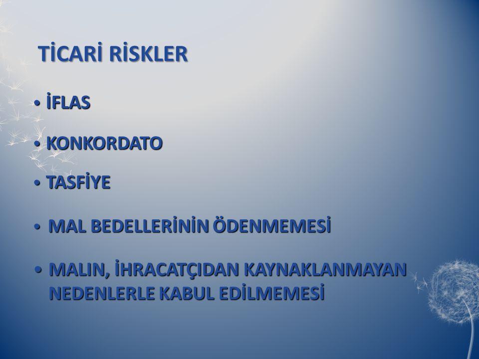 TİCARİ RİSKLER İFLAS KONKORDATO TASFİYE MAL BEDELLERİNİN ÖDENMEMESİ