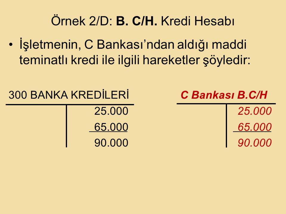 Örnek 2/D: B. C/H. Kredi Hesabı