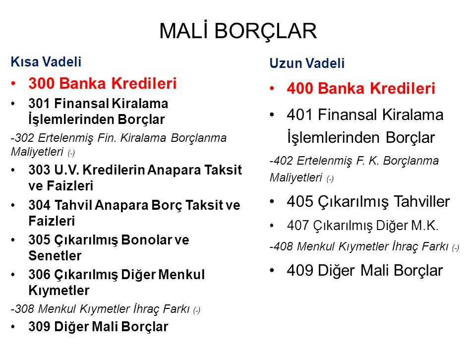 MALİ BORÇLAR 300 Banka Kredileri 400 Banka Kredileri