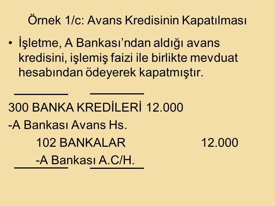 Örnek 1/c: Avans Kredisinin Kapatılması