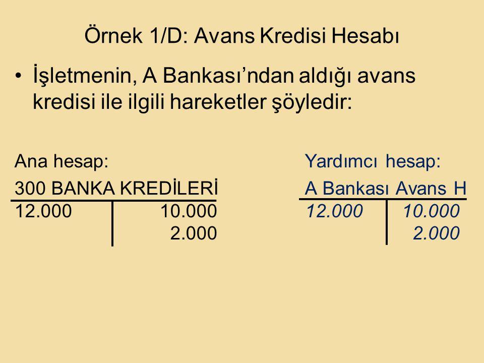 Örnek 1/D: Avans Kredisi Hesabı