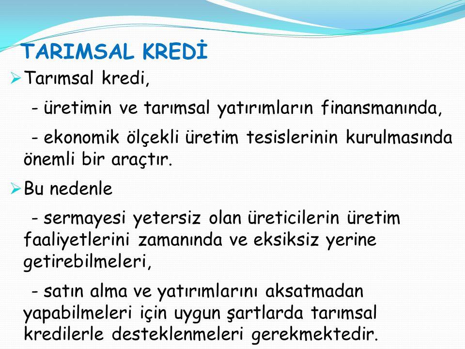 TARIMSAL KREDİ Tarımsal kredi,