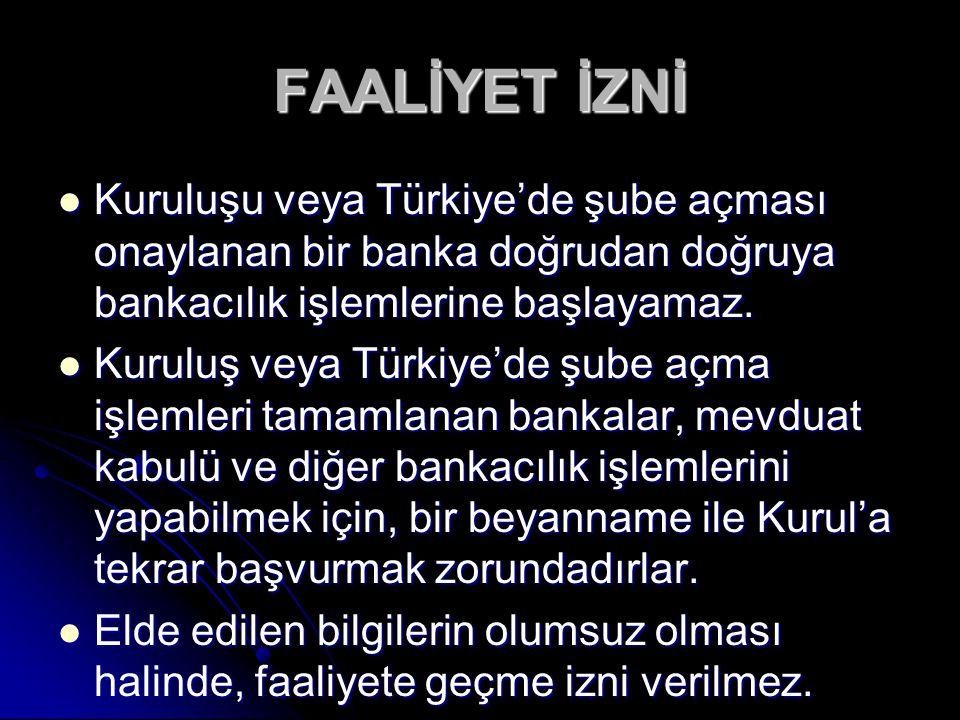 FAALİYET İZNİ Kuruluşu veya Türkiye'de şube açması onaylanan bir banka doğrudan doğruya bankacılık işlemlerine başlayamaz.