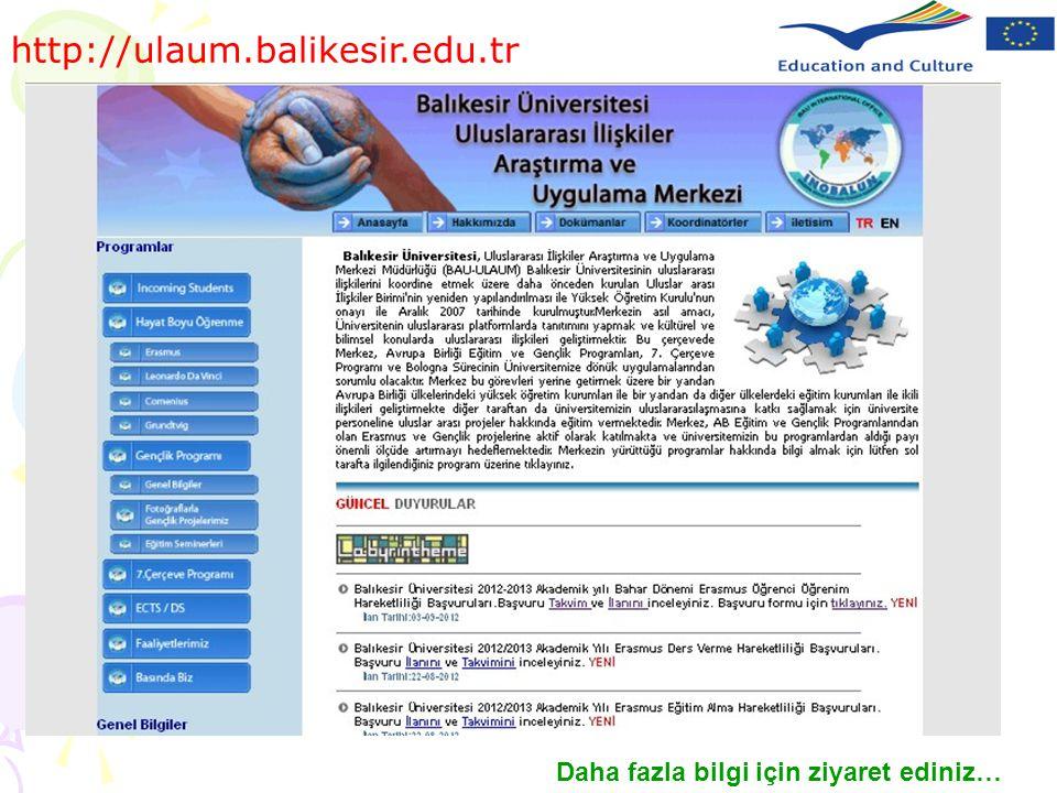 http://ulaum.balikesir.edu.tr Daha fazla bilgi için ziyaret ediniz…