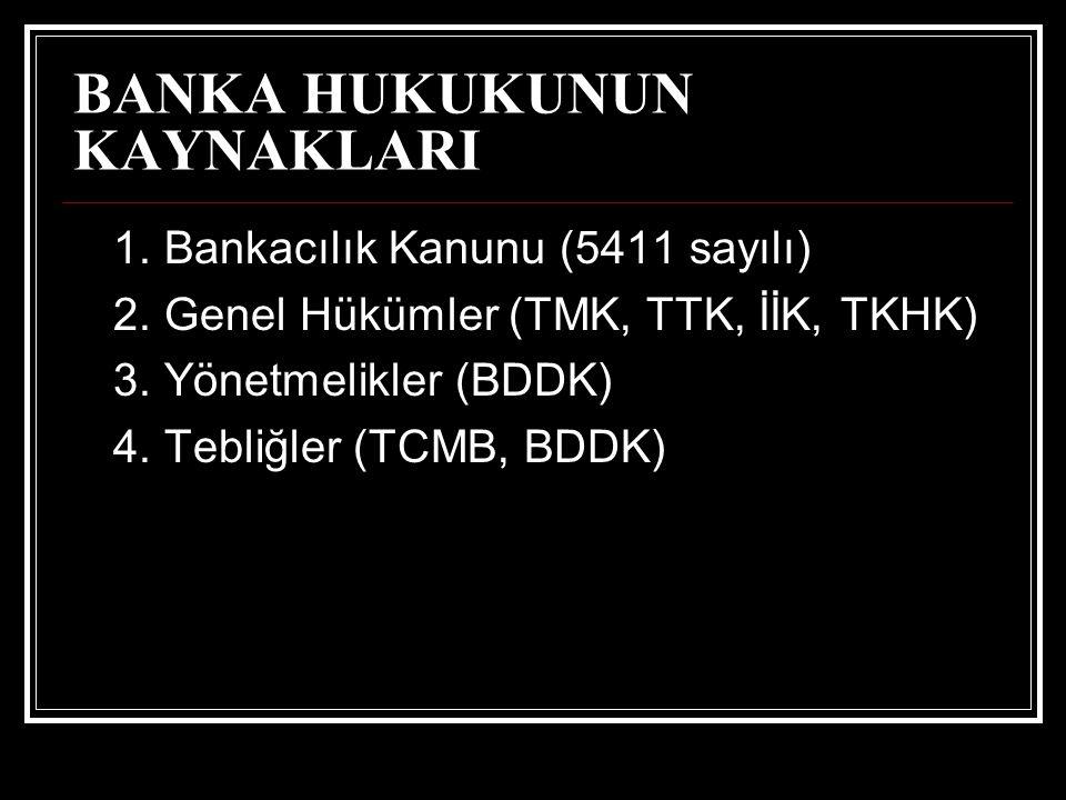 BANKA HUKUKUNUN KAYNAKLARI