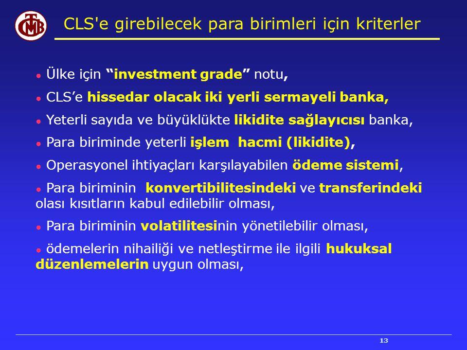 CLS e girebilecek para birimleri için kriterler