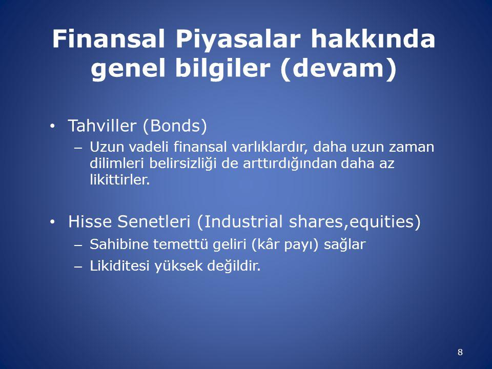 Finansal Piyasalar hakkında genel bilgiler (devam)