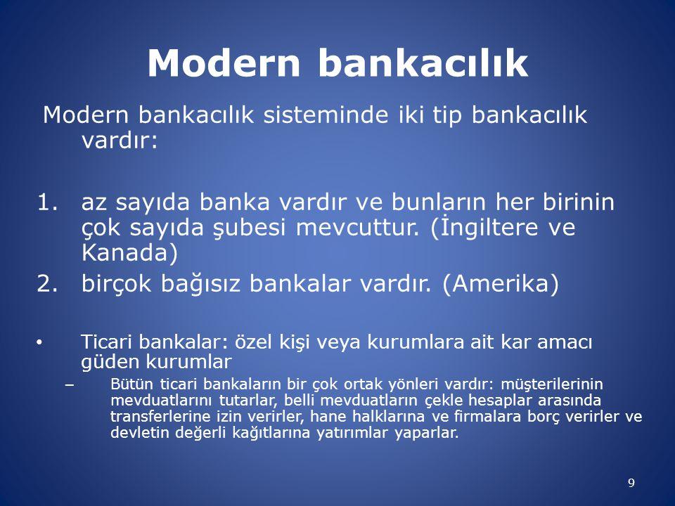 Modern bankacılık Modern bankacılık sisteminde iki tip bankacılık vardır: