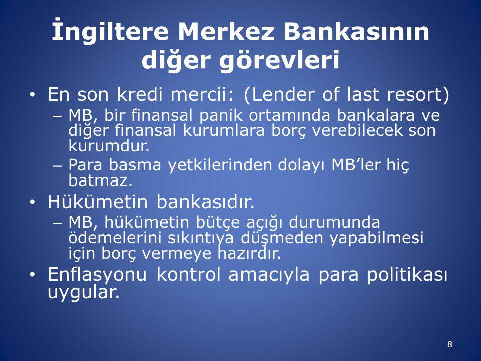 İngiltere Merkez Bankasının diğer görevleri