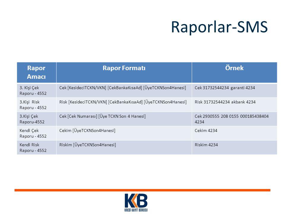 Raporlar-SMS Rapor Amacı Rapor Formatı Örnek 3. Kişi Çek Raporu - 4552