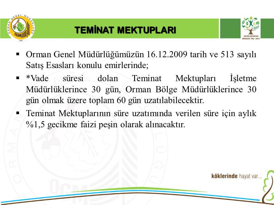 TEMİNAT MEKTUPLARI Orman Genel Müdürlüğümüzün 16.12.2009 tarih ve 513 sayılı Satış Esasları konulu emirlerinde;