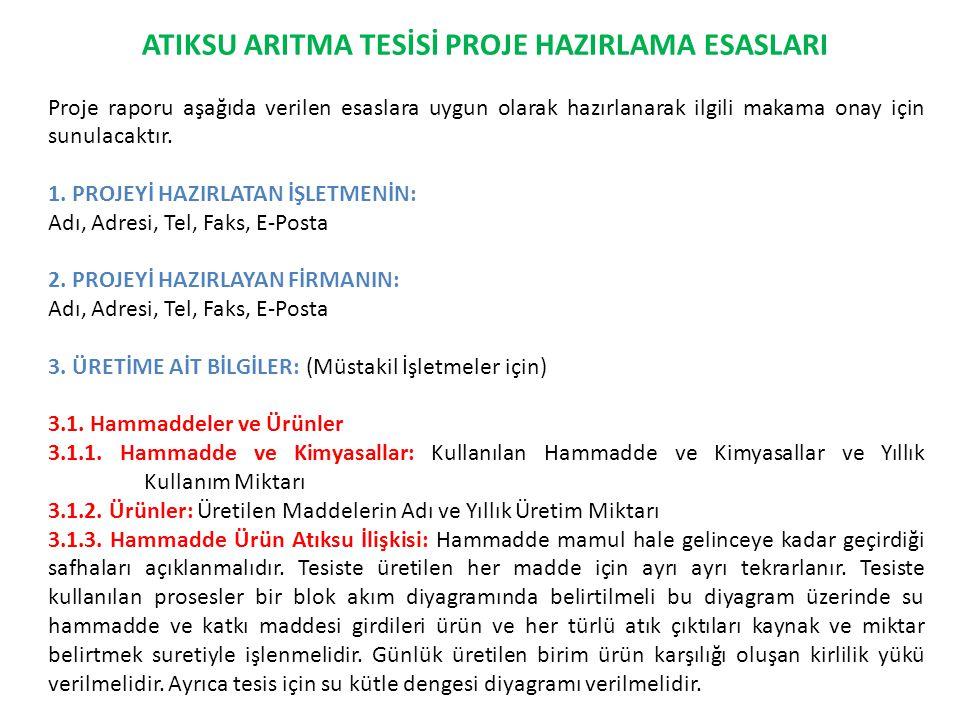 ATIKSU ARITMA TESİSİ PROJE HAZIRLAMA ESASLARI