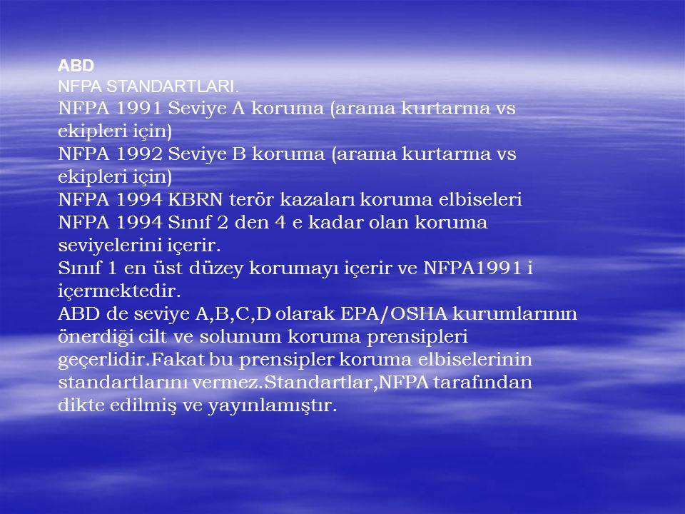 NFPA 1991 Seviye A koruma (arama kurtarma vs ekipleri için)