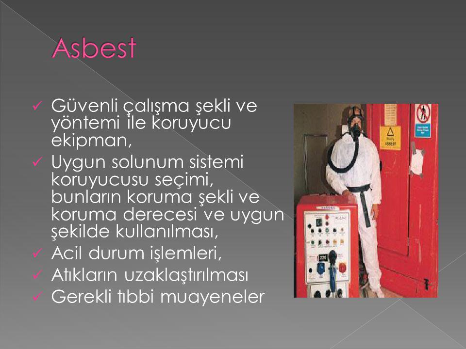 Asbest Güvenli çalışma şekli ve yöntemi ile koruyucu ekipman,
