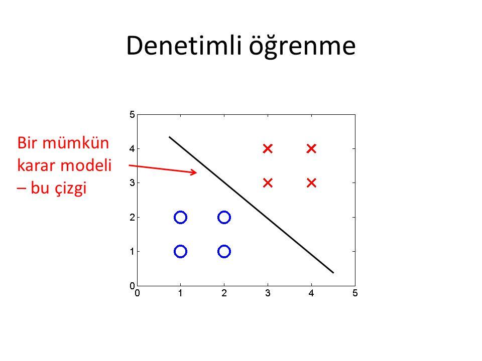 Denetimli öğrenme Bir mümkün karar modeli – bu çizgi
