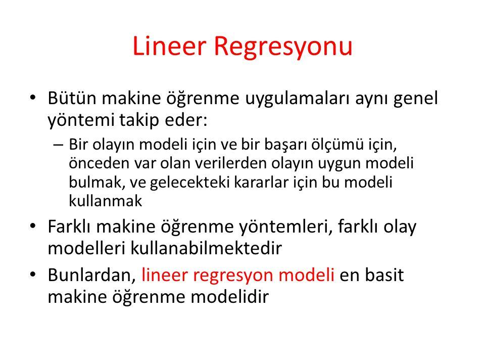 Lineer Regresyonu Bütün makine öğrenme uygulamaları aynı genel yöntemi takip eder: