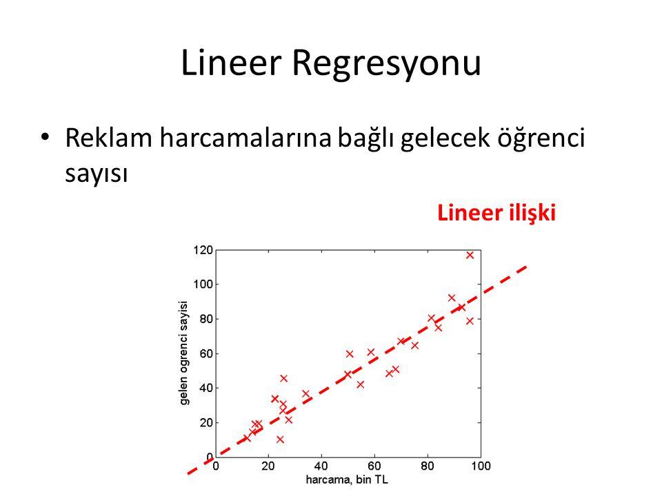 Lineer Regresyonu Reklam harcamalarına bağlı gelecek öğrenci sayısı