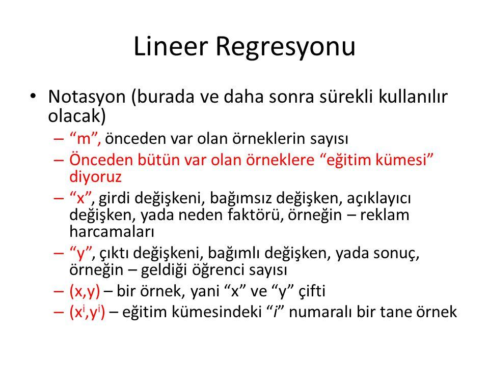 Lineer Regresyonu Notasyon (burada ve daha sonra sürekli kullanılır olacak) m , önceden var olan örneklerin sayısı.