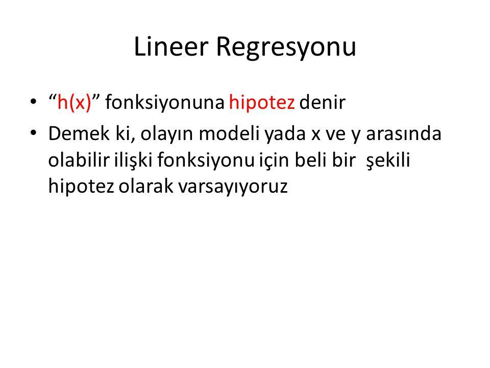 Lineer Regresyonu h(x) fonksiyonuna hipotez denir