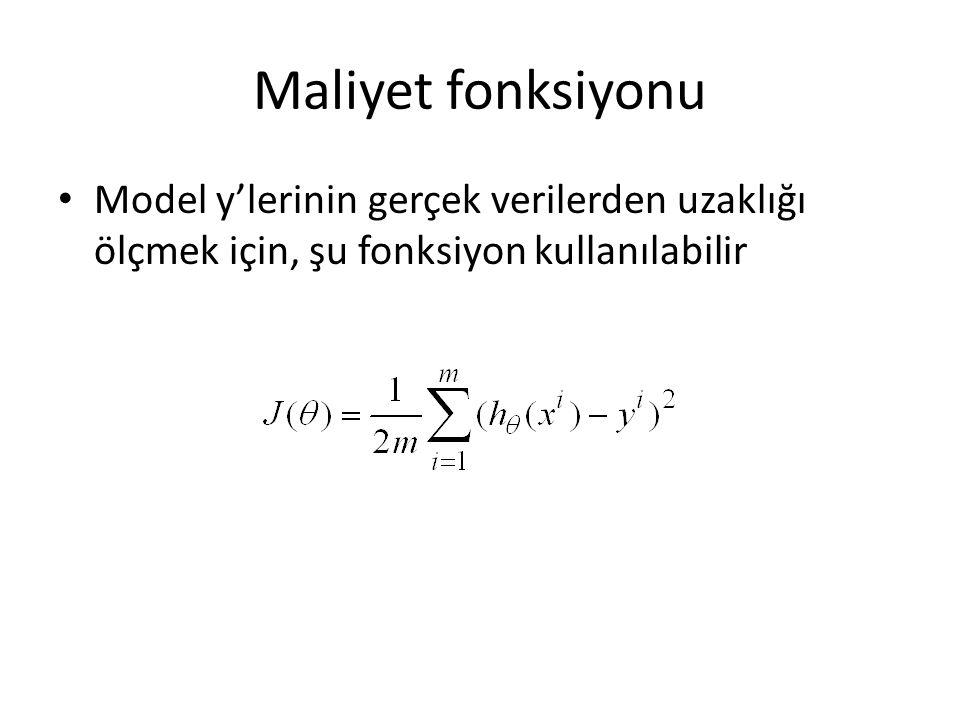 Maliyet fonksiyonu Model y'lerinin gerçek verilerden uzaklığı ölçmek için, şu fonksiyon kullanılabilir.