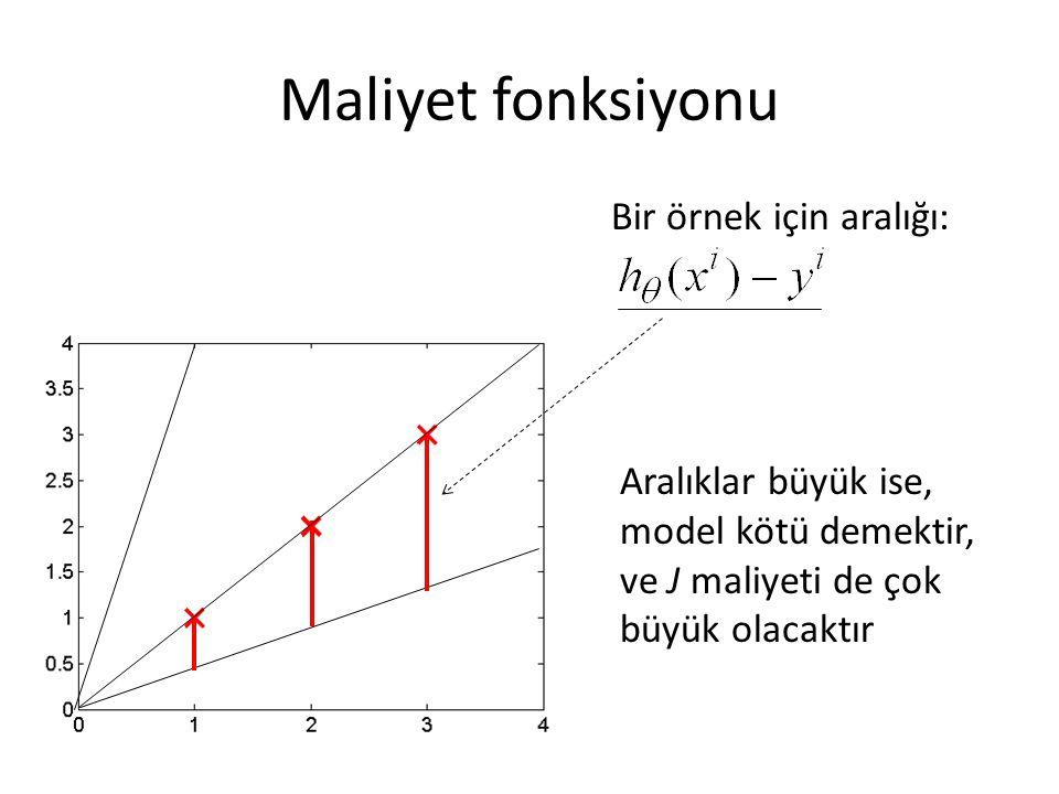 Maliyet fonksiyonu Bir örnek için aralığı: