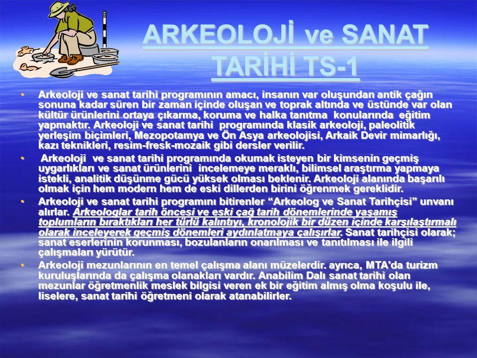 ARKEOLOJİ ve SANAT TARİHİ TS-1