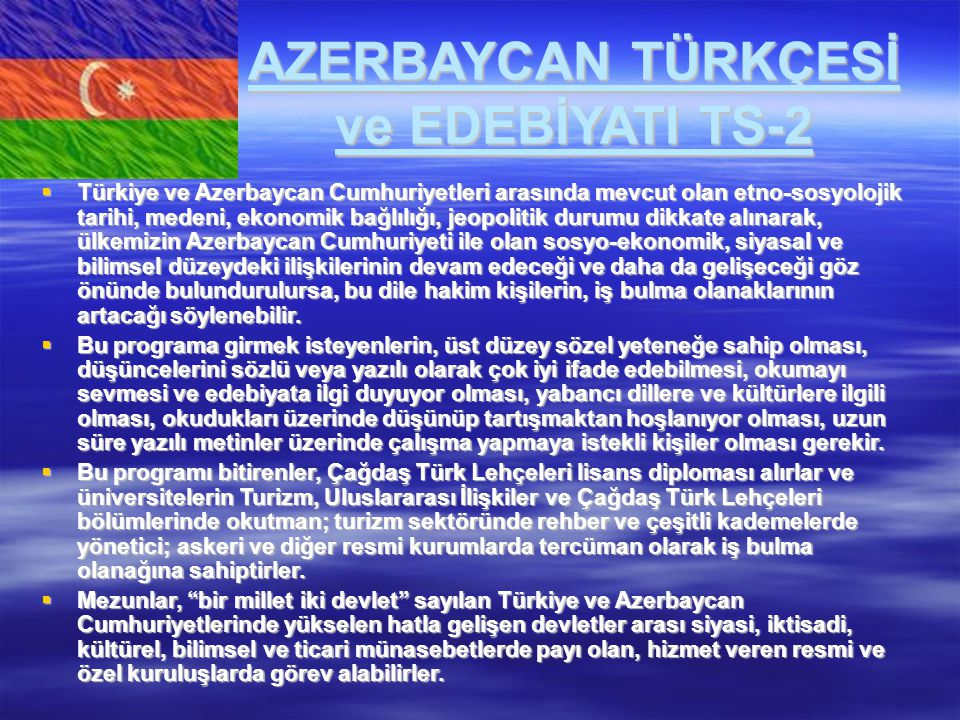 AZERBAYCAN TÜRKÇESİ ve EDEBİYATI TS-2