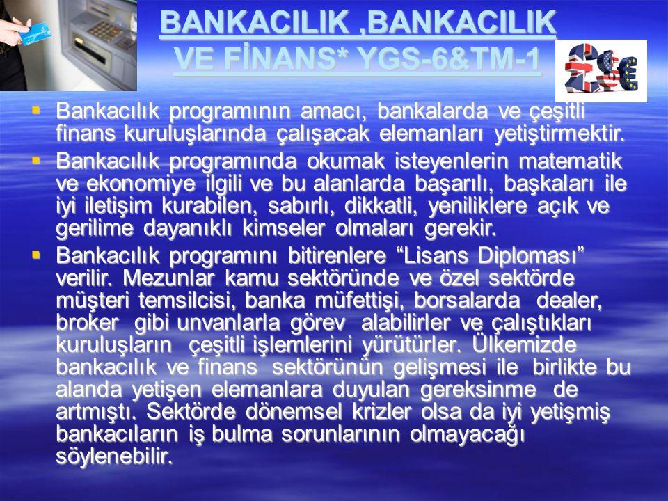 BANKACILIK ,BANKACILIK VE FİNANS* YGS-6&TM-1