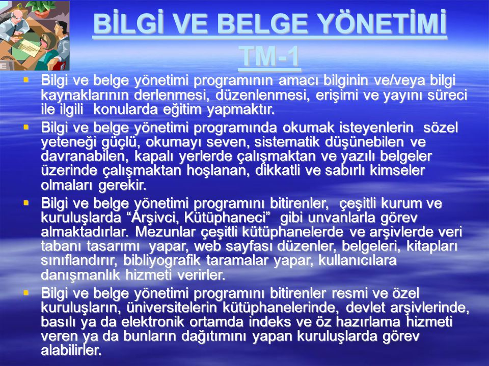 BİLGİ VE BELGE YÖNETİMİ TM-1