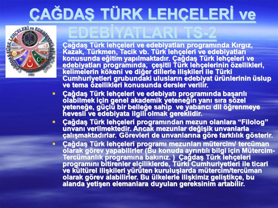 ÇAĞDAŞ TÜRK LEHÇELERİ ve EDEBİYATLARI TS-2