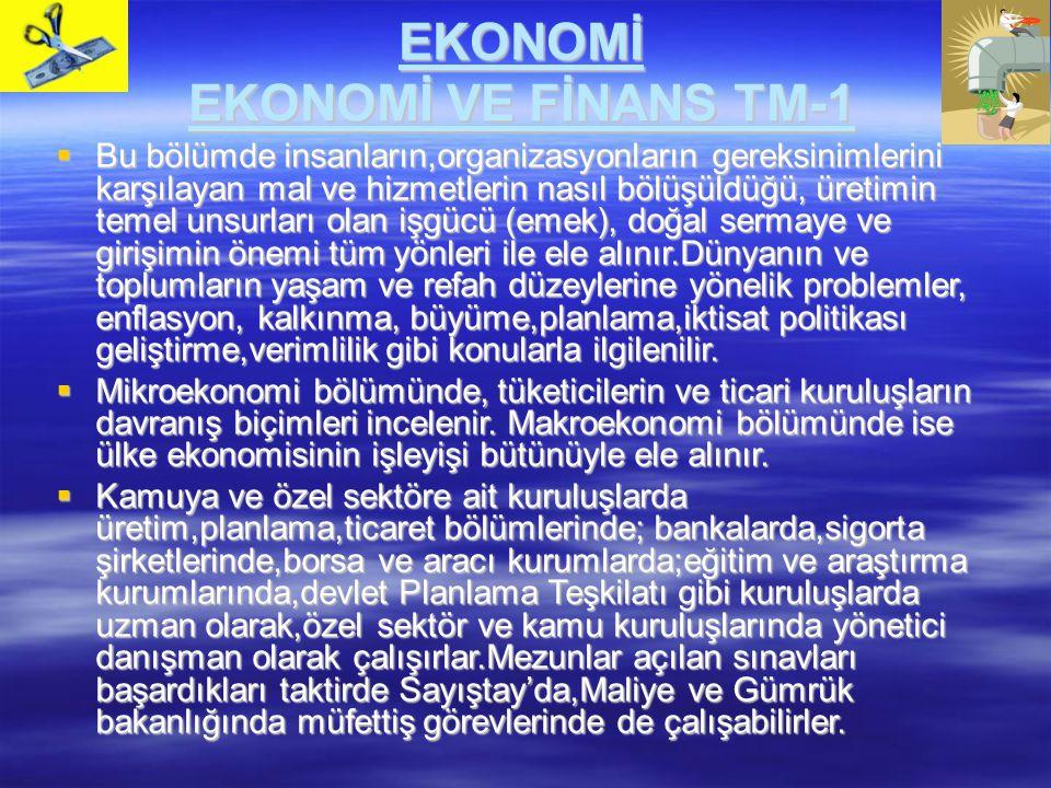 EKONOMİ EKONOMİ VE FİNANS TM-1