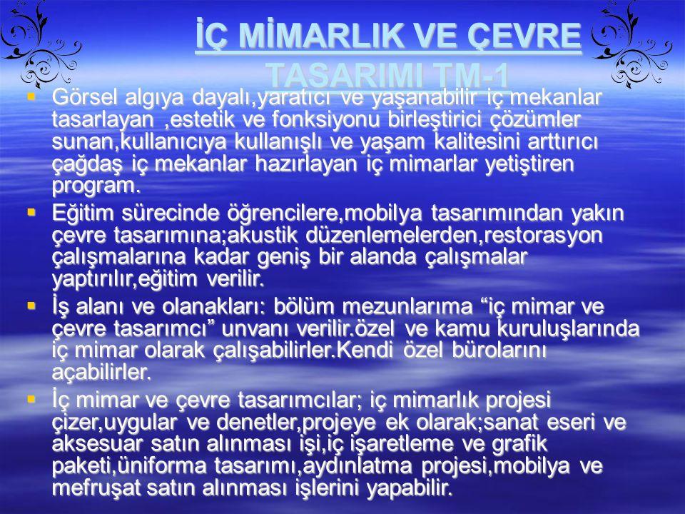 İÇ MİMARLIK VE ÇEVRE TASARIMI TM-1