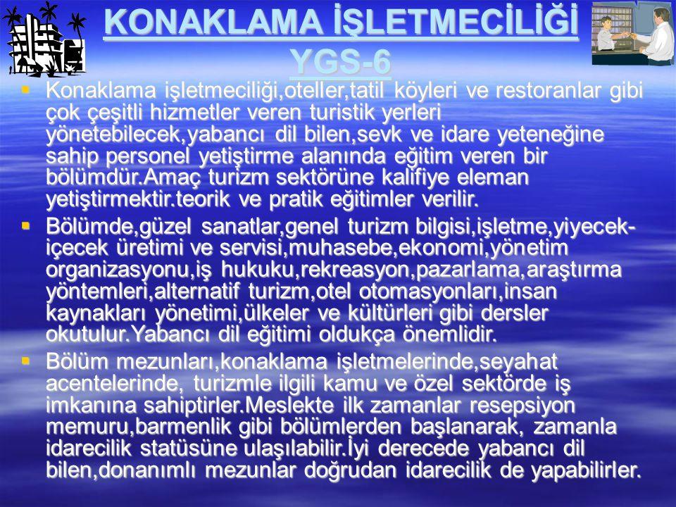 KONAKLAMA İŞLETMECİLİĞİ YGS-6