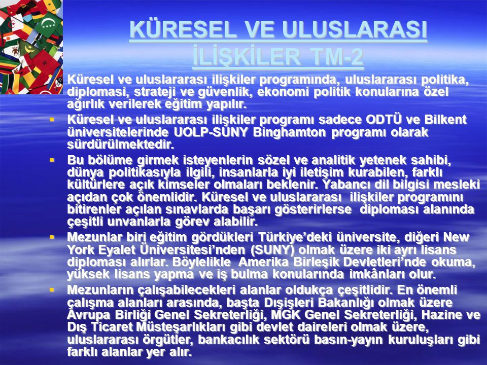 KÜRESEL VE ULUSLARASI İLİŞKİLER TM-2