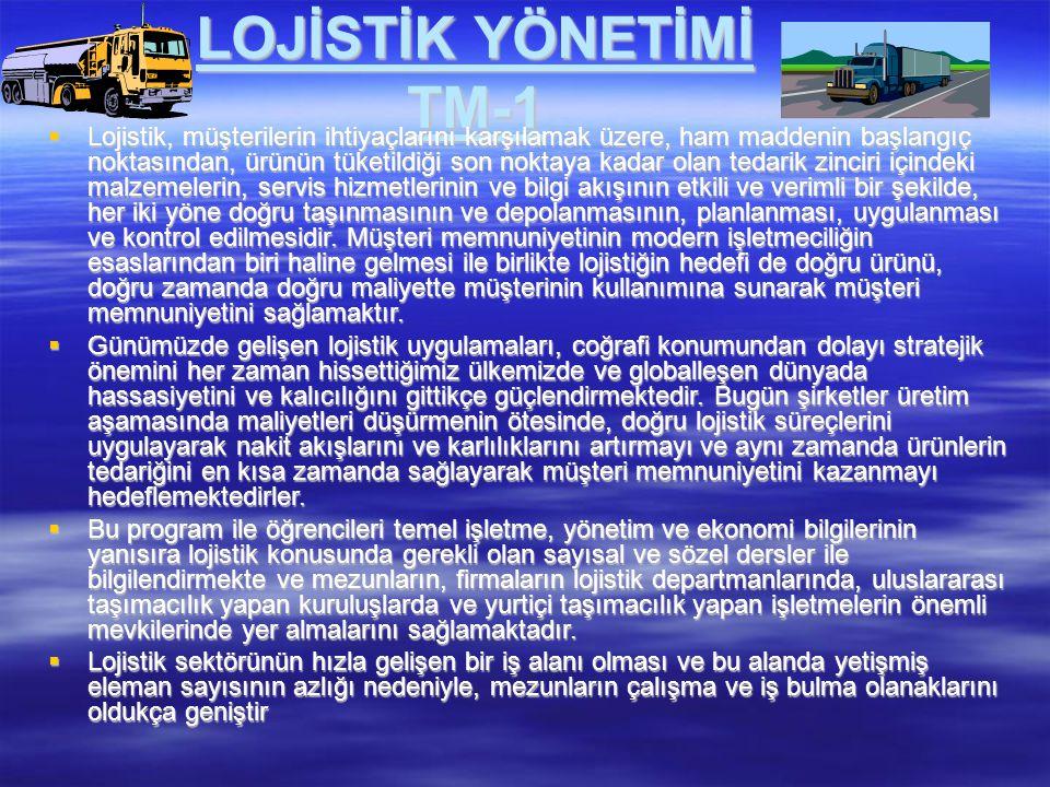 LOJİSTİK YÖNETİMİ TM-1