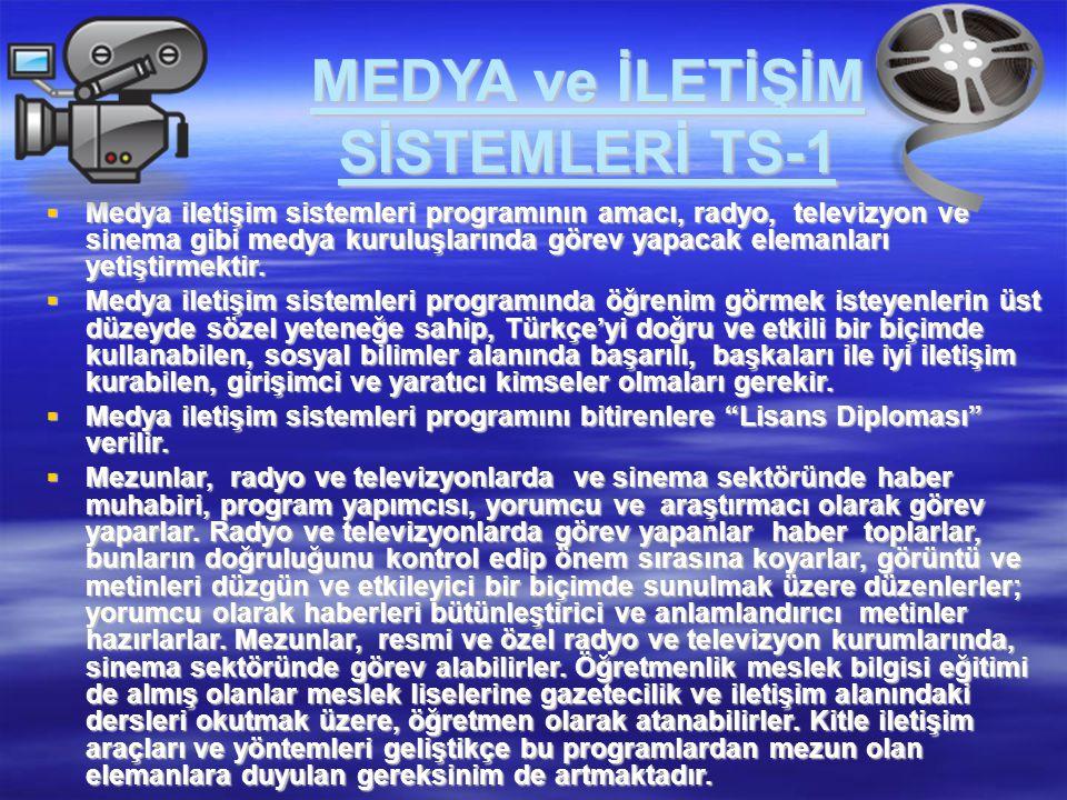 MEDYA ve İLETİŞİM SİSTEMLERİ TS-1