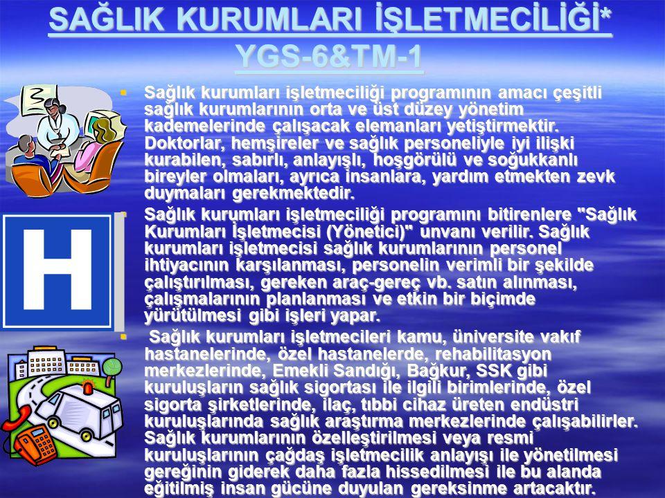 SAĞLIK KURUMLARI İŞLETMECİLİĞİ* YGS-6&TM-1