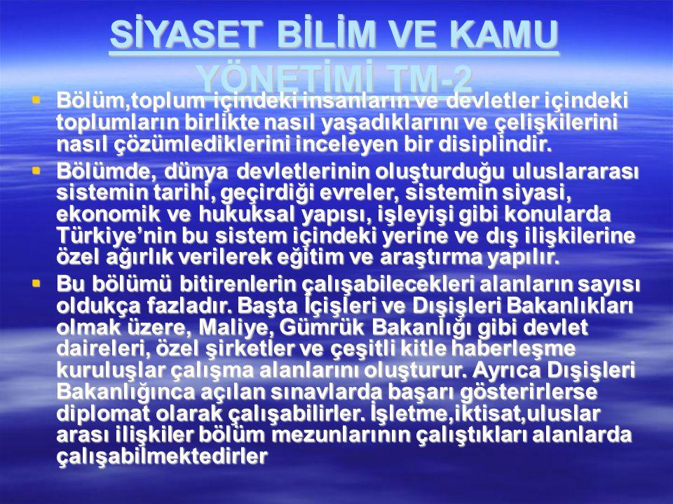 SİYASET BİLİM VE KAMU YÖNETİMİ TM-2