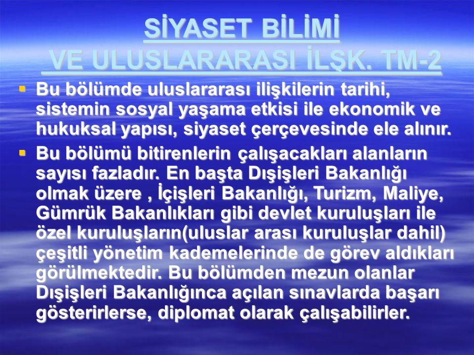 SİYASET BİLİMİ VE ULUSLARARASI İLŞK. TM-2