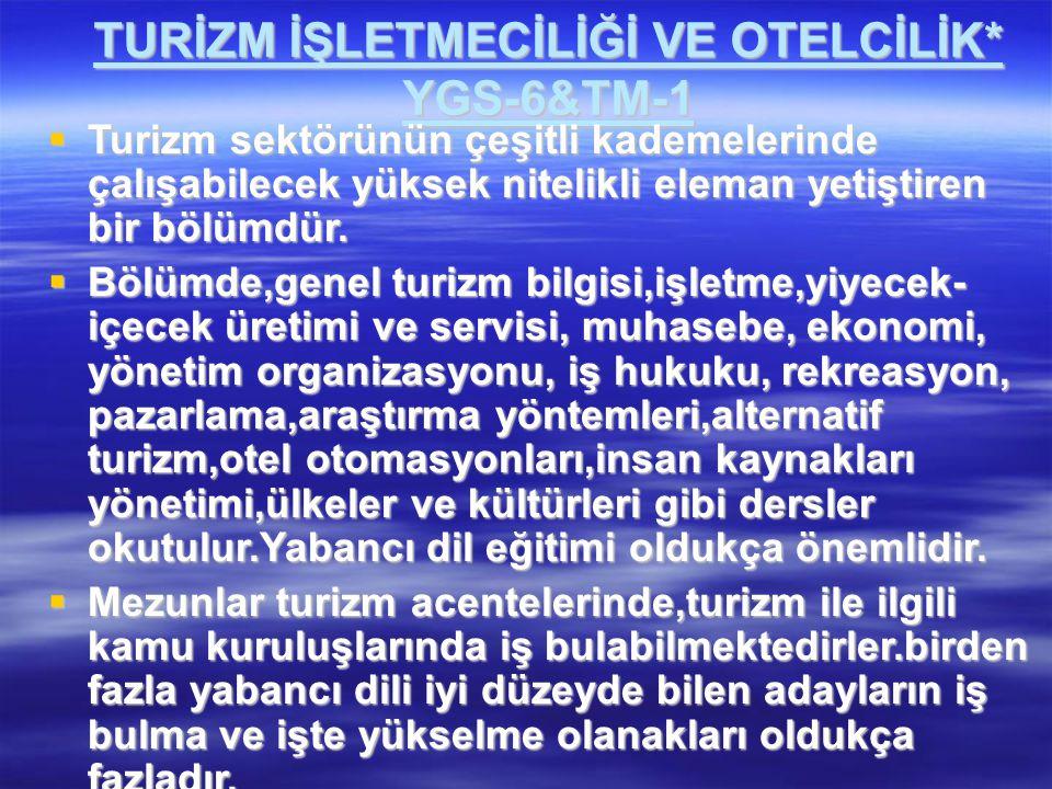 TURİZM İŞLETMECİLİĞİ VE OTELCİLİK* YGS-6&TM-1