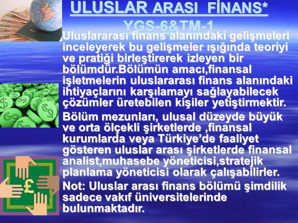ULUSLAR ARASI FİNANS* YGS-6&TM-1
