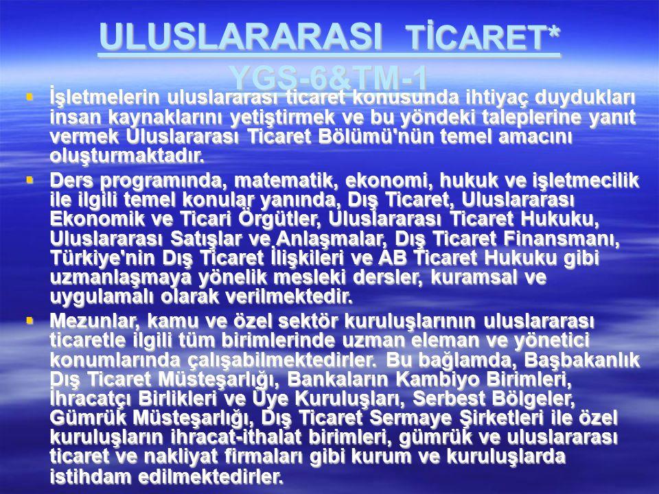 ULUSLARARASI TİCARET* YGS-6&TM-1