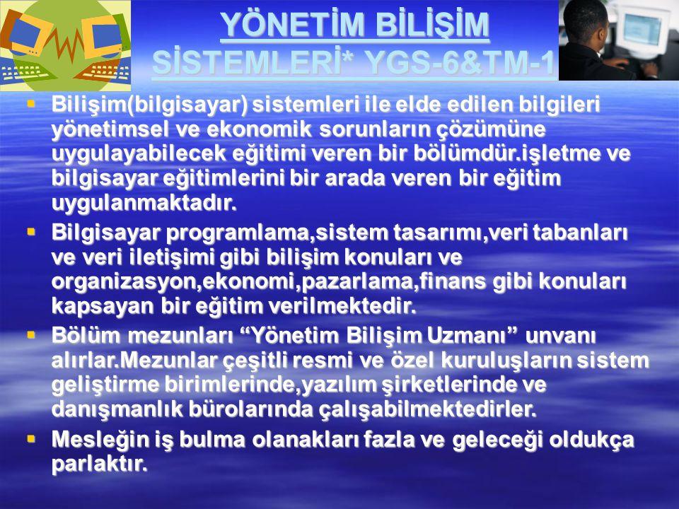 YÖNETİM BİLİŞİM SİSTEMLERİ* YGS-6&TM-1