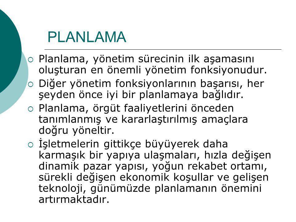 PLANLAMA Planlama, yönetim sürecinin ilk aşamasını oluşturan en önemli yönetim fonksiyonudur.